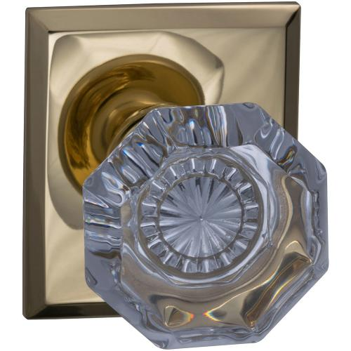 Product Image - Interior Traditional Knob Latchset with Rectangular Rose in (US3 Polished Brass, Lacquered)