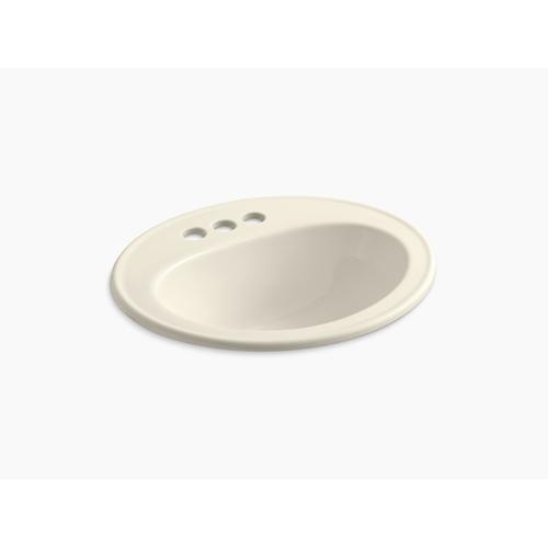 Almond Drop-in Bathroom Sink With Centerset Faucet Holes