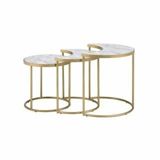 ACME Anpay 3Pc Pack Nesting Tables - 85390 - Contemporary - Metal Tube, Paper Laminate, MDF - Faux Marble and Gold