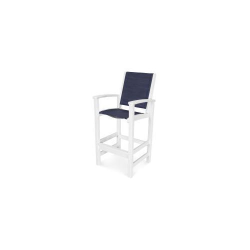 Polywood Furnishings - Coastal Bar Chair in Vintage White / Sapphire Sling