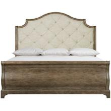 King Rustic Patina Upholstered Sleigh Bed in Peppercorn (387)