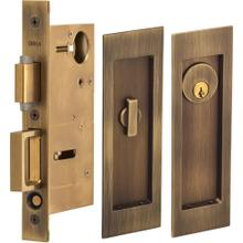 Pocket Door Lock with Modern Rectangular Trim featuring Turnpiece and Keyed Entry. in (US5 Antique Brass, Lacquered)