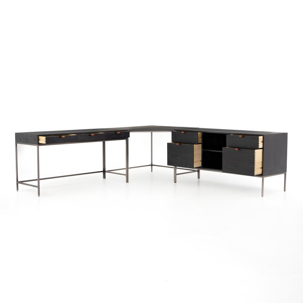 With Filing Credenza Configuration Black Wash Poplar Finish Trey Desk System