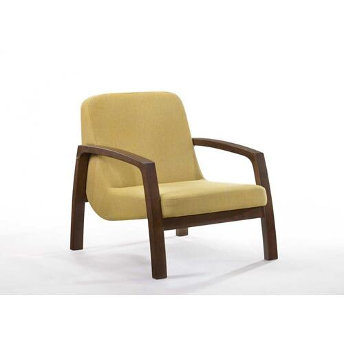 VIG Furniture - Modrest Bronson Mid-Century Modern Yellow & Walnut Accent Chair