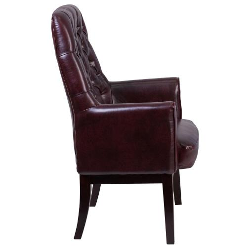 Alamont Furniture - High Back Traditional Tufted Burgundy Leather Side Reception Chair