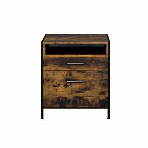ACME Juvanth Nightstand, Rustic Oak & Black Finish - 24263