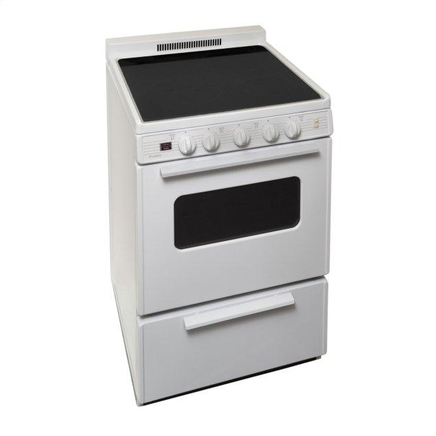 Premier 24 in. Freestanding Smooth Top Electric Range in White