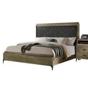 ACME Athouman Eastern King Bed (Panel) - 23907EK - PU & Weathered Oak