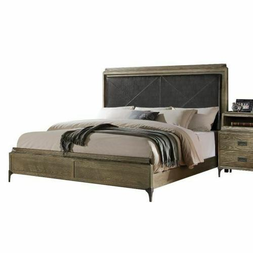 ACME Athouman Eastern King Bed (Panel) - 23907EK - PU & Weathered Oak