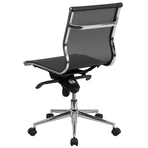 Mid-Back Transparent Black Mesh Executive Swivel Chair with Synchro-Tilt Mechanism