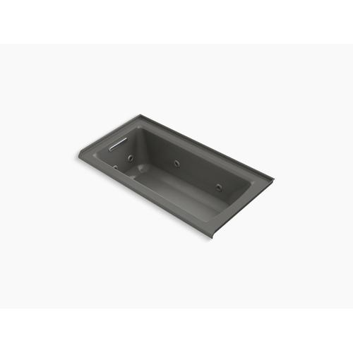 "Thunder Grey 60"" X 30"" Three-side Integral Flange Whirlpool With Heater and Left-hand Drain"