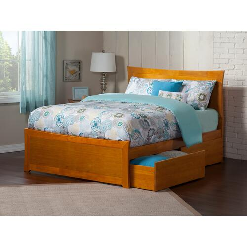 Metro Queen Bed with Matching Foot Board with 2 Urban Bed Drawers in Caramel Latte