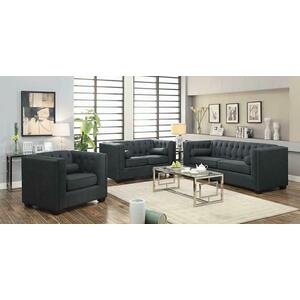 CLEARANCE Cairns Transitional Charcoal Tufted Back Sofa