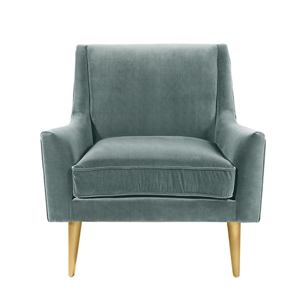 Lounge Chair With Brass Legs In Seafoam Velvet