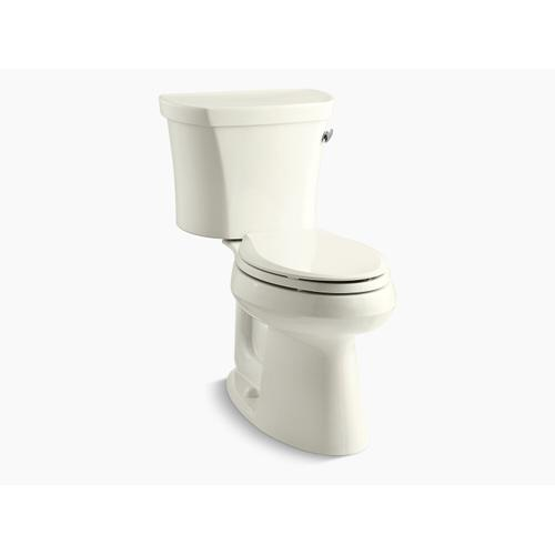 """Kohler - Biscuit Two-piece Elongated 1.28 Gpf Chair Height Toilet With Right-hand Trip Lever, Tank Cover Locks, Insulated Tank and 14"""" Rough-in"""