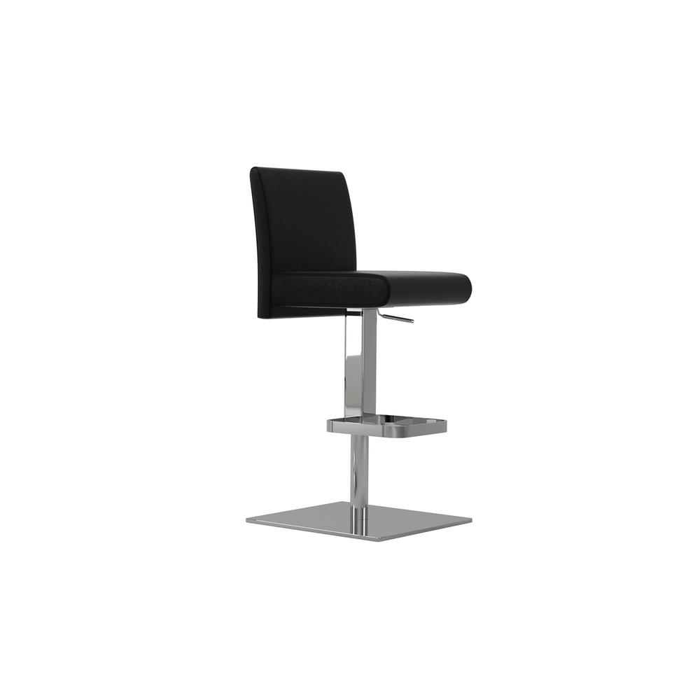 The Vittoria Adjustable Bar Stool In Black Leather With Chrome Plated Base