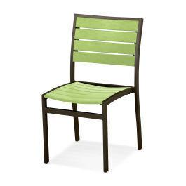 Polywood Furnishings - Eurou2122 Dining Side Chair in Textured Bronze / Lime