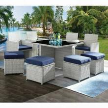 ACME Paitalyi 9Pc Patio Set - 45075 - Blue Fabric & Wicker