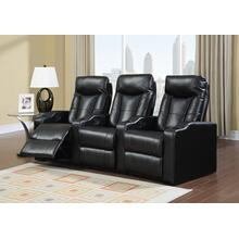 See Details - Camden Black Bonded Leather 3-Piece Reclining Theater Set