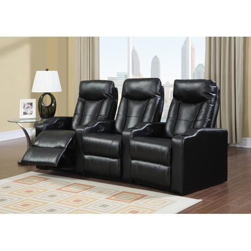 Myco Furniture - Camden Black Bonded Leather 3-Piece Reclining Theater Set