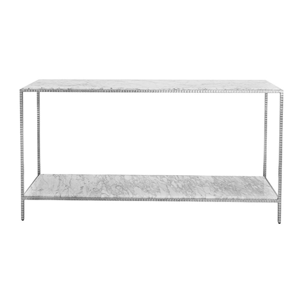 Large Console With White Marble Top In Hammered Silver Leaf