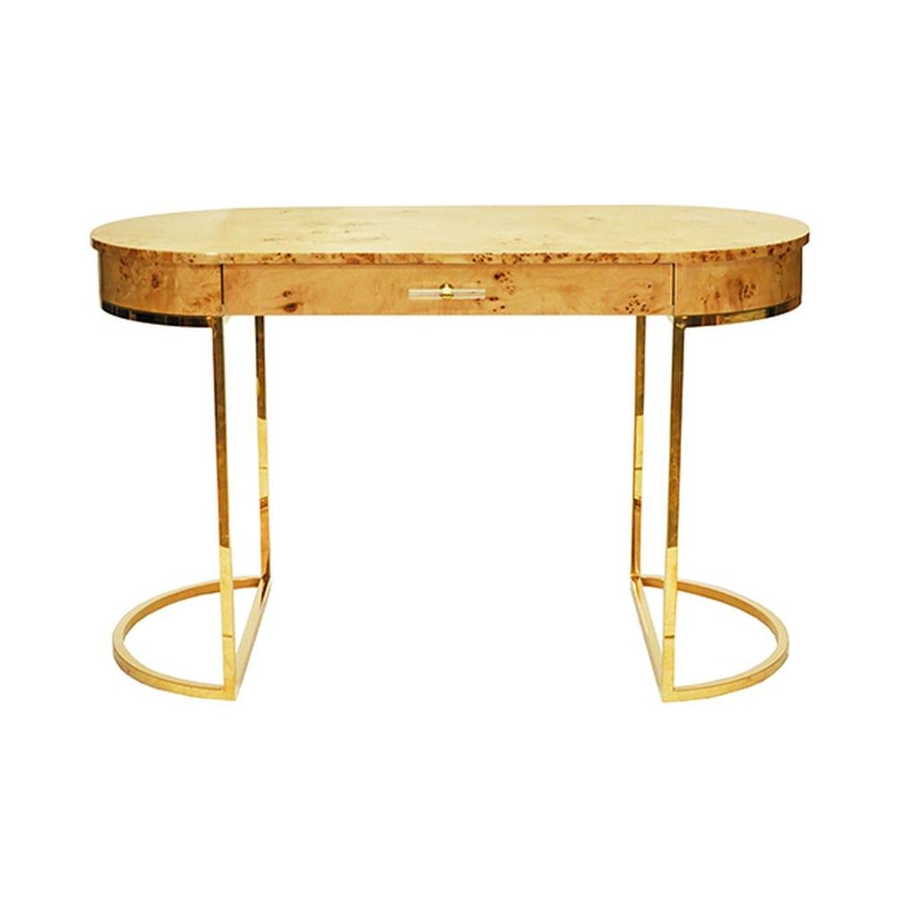 Modern, Glamorous, and On-trend, Our Oval Corbett Desk Is the Epitome of Luxe Design. the Burlwood Top Has A High Gloss Finish, Linear Acrylic Hardware, and Brass Demilune Base. So Chic!