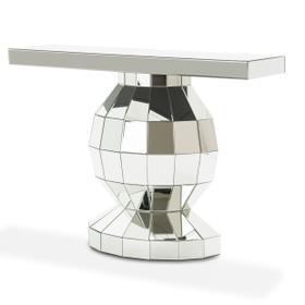 Silver Mirrored Globe Console Table