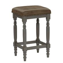 Upholstered Counter Stool, Set of 2 - Oak/Brushed Gray Finish