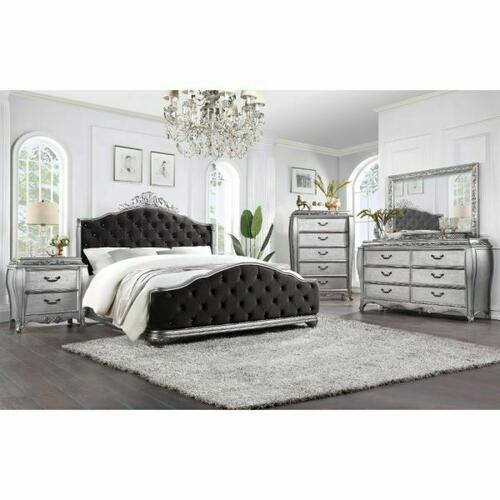 ACME Leonora Queen Bed - 22140Q - Glam - Fabric, Wood (Poplar), Wood Veneer (Ash), Poly-Resin, MDF - Fabric and Vintage Platinum
