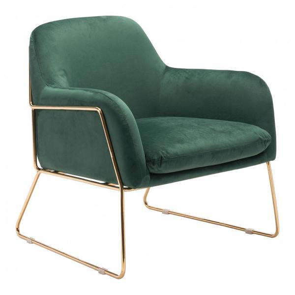 Nadir Arm Chair Green & Gold