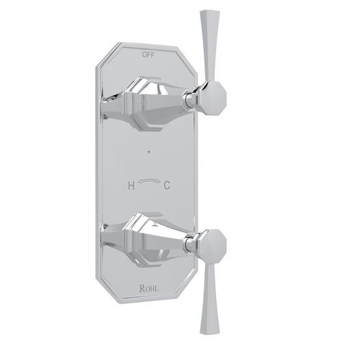 """Polished Chrome Perrin & Rowe Deco 1/2"""" Thermostatic/Diverter Control Trim with Deco Metal Lever"""