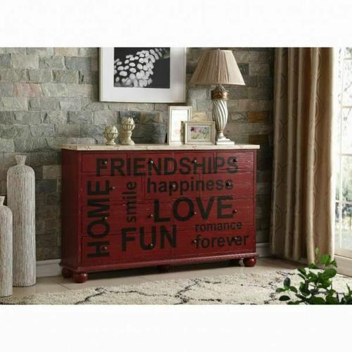 ACME Arwin Console Table - 90294 - Antique Burgundy & White Washed