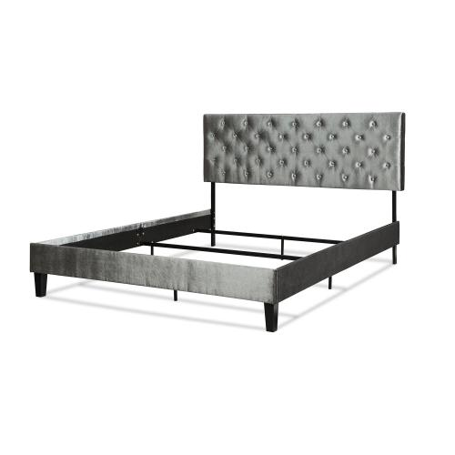 Fashion Bed Group - Hayworth Complete Upholstered Bed in a Box and Bedding Support System with Button-Tuft Headboard, Velvet Gray Finish, Queen