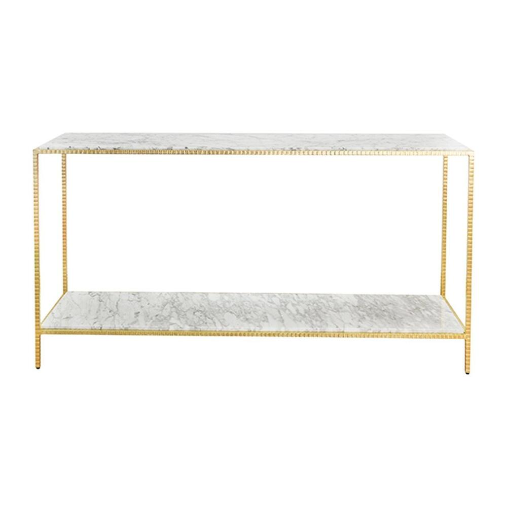 Large Console With White Marble Top In Hammered Gold Leaf