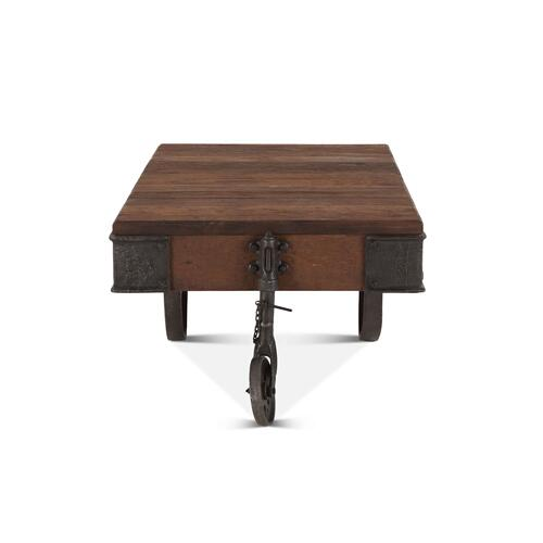 """Industrial Teak 50"""" Reclaimed Wood Coffee Table"""