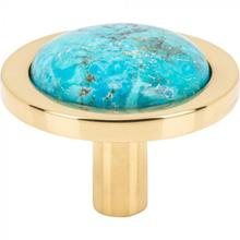View Product - FireSky Mohave Turquoise Knob 1 9/16 Inch Polished Brass Base Polished Brass