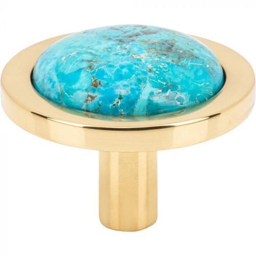 Vesta Fine Hardware - FireSky Mohave Turquoise Knob 1 9/16 Inch Polished Brass Base Polished Brass