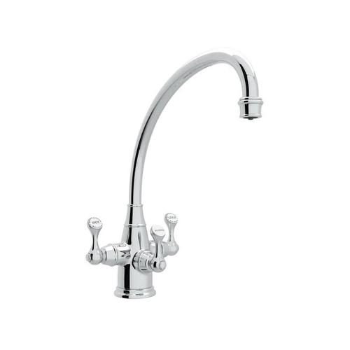 Georgian Era Filtration 3-Lever Kitchen Faucet - Polished Chrome with Metal Lever Handle
