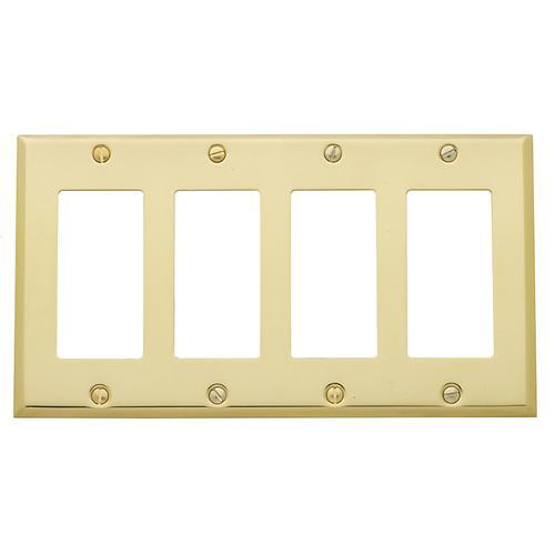 Polished Brass Beveled Edge Quad GFCI