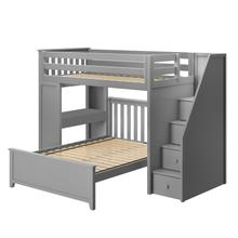 See Details - All in One Staircase Loft Bed Study + Full Bed Grey