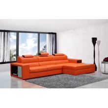 View Product - Divani Casa Polaris Mini - Contemporary Orange Bonded Leather Right Facing Sectional Sofa