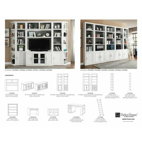 Parker House - CATALINA 12 Piece Corner Library Wall with Writing Desk