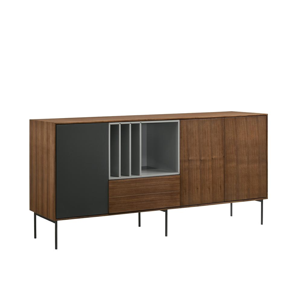 The Calico Buffet-server In Walnut Wood Veneer With Gray Matte Painted Accents
