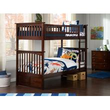 Columbia Bunk Bed Twin over Twin in Walnut