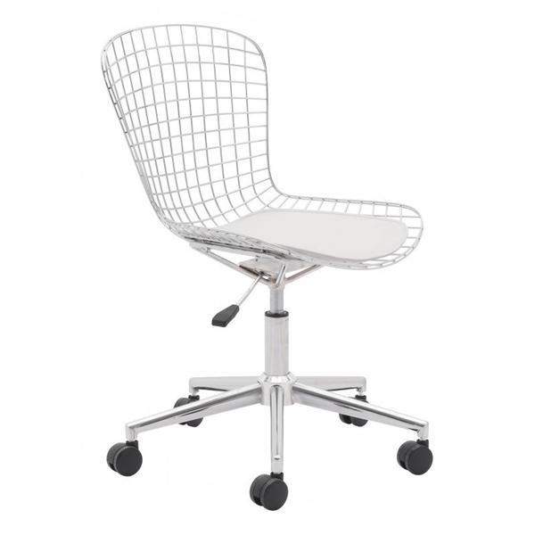 Wire Office Chair Chrome & White Cushion