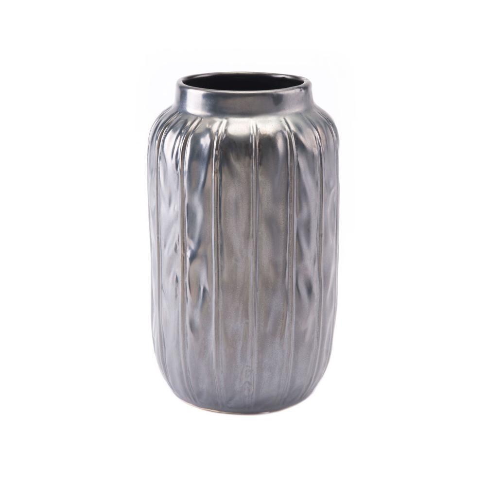 Small Antique Vase Metallic Gray