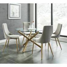 See Details - Carmilla 5pc Dining Set, Gold/Grey