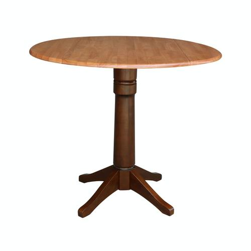 Product Image - Round Dropleaf Pedestal Table in Cinnamon / Espresso