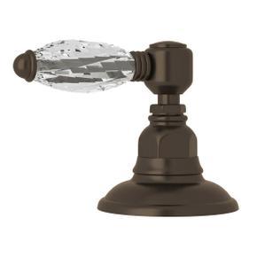 Deck Mount 3-Port 2 Direction Diverter - Tuscan Brass with Crystal Metal Lever Handle