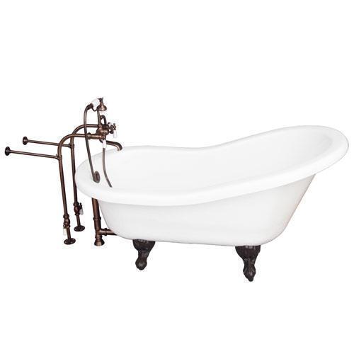 "Estelle 60"" Acrylic Slipper Tub Kit in White - Oil Rubbed Bronze Accessories"